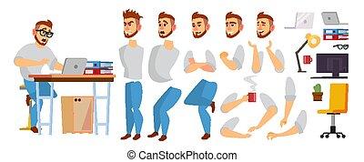 集合, 設計師, 辦公室, 過程, animation., male., 程式員, 創造性, 環境, 工作, 字, 被隔离, gestures., 擺在, vector., 套間, 充分, 商業描述, 感情, manager., 卡通, studio., 臉, length., 或者
