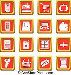 集合, 超級市場, 紅色, 圖象