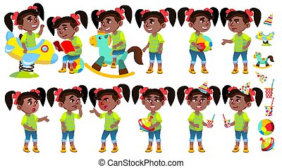 集合, 邀請, 女孩, afro, design., 字, 被隔离, 幼儿園, 表達, vector., playing., american., 插圖, playground., 擺在, 卡通, 卡片, 孩子, 樂趣, 感情, black., 有