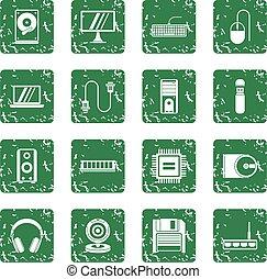 集合, 電腦, grunge, 圖象