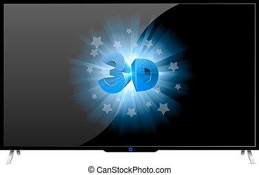 集合, 電視, 現代, 被隔离, 簽署, 背景。, 白色, 3d
