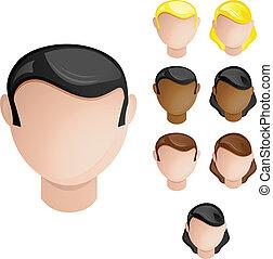集合, 頭, 人們, 頭髮, 顏色, 4, 皮膚, female., 男性
