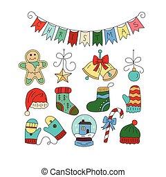 集合, 顏色, 心不在焉地亂寫亂畫, icons., 符號, 矢量, 聖誕節, 圖象
