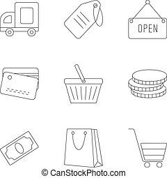 集合, 風格, outline, 超級市場, 圖象