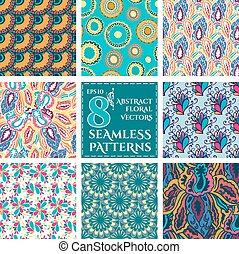 集合, 鮮艷, 摘要, patterns., seamless, 植物