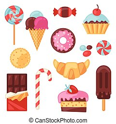 集合, 鮮艷, 糖果, 甜食, 各種各樣, cakes.