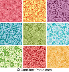 集合, 鮮艷, 背景, seamless, 圖樣, 九, 花