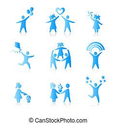 集合, 黑色半面畫像, 人們, 孩子, 人, 圖象, -, 符號。, 男孩, 婦女, 女孩, 父母, 父親, vector., family., 母親, 孩子