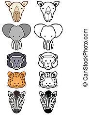 集合, animals., 矢量, 荒野, 動物園, 或者