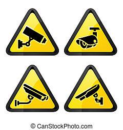 集合, cctv, 符號, 標籤, 三角形, 照像機, 安全