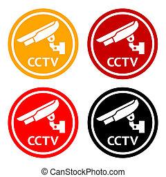 集合, cctv, 符號, pictogram, 照像機, 安全