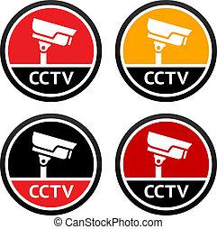 集合, cctv, pictogram, 簽署, 照像機, 安全
