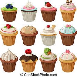 集合, cupcakes, 美味