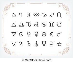集合, elements., 圖象, 神秘主義者, 圖表, 符號, 矢量, 設計, 占星術, collection., signs., 占星術