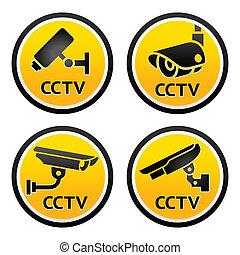 集合, pictogram, 中國中央電視台照像機, 簽署, 安全