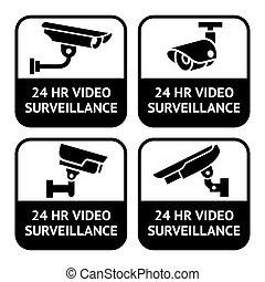 集合, pictogram, cctv, 符號, 標籤, 照像機, 安全