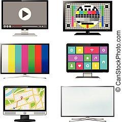 集合, tv 屏幕, 被隔离, 背景, 白色