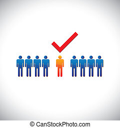 雇員, 圖形, 權利, selecting(hiring), illustration-, employable, candidate., 插圖, 馬克, 人, 工作, 工人, suitable, 顯示, check(tick)