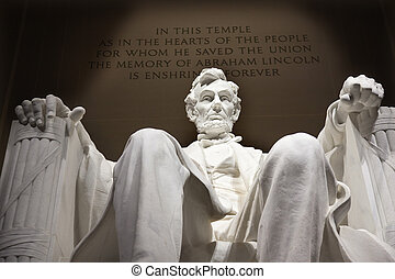 雕像, 紀念館, dc, 向上, 林肯, 關閉, 華盛頓, 白色