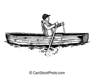 雕刻, 划船, 插圖, 矢量, 小船, 人
