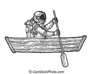 雕刻, 略述, 太空人, 小船