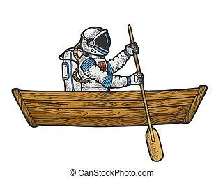 雕刻, 略述, illustration., 太空人, 木制, 抓痕, 划船, 風格, 手, imitation., 顏色, image., 矢量, 宇航員, 板, 畫, 白色, 小船, 黑色