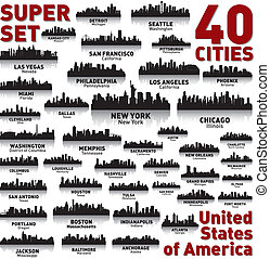 難以置信, 國家, 團結, set., 地平線, 城市, america.