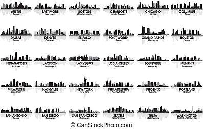 難以置信, skyline., 30, cities., 美國, 集合, 城市