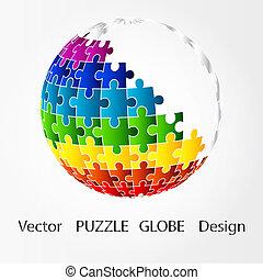 難題, 設計, 全球, 3d