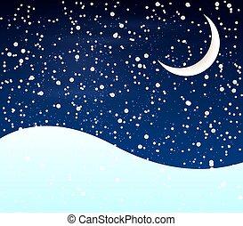 雪, 月牙, 夜晚