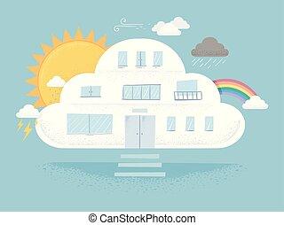 雲, 建築物, 天氣, 插圖