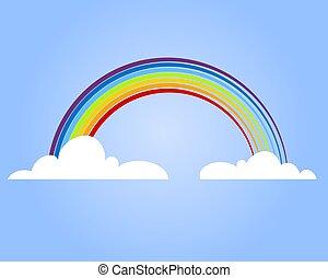雲, 彩虹, 矢量, illustration., 鮮艷