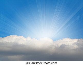 雲, 背景, 陽光