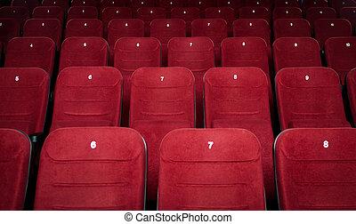 電影院, 大廳, 空, 座位