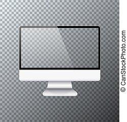 電腦監視器, 現代, 現實, 矢量, 圖象