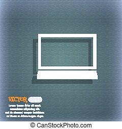 電腦監視器, 空間, 藍色綠色, 摘要, widescreen, text., 簽署, 矢量, icon., 背景, 陰影, 你
