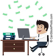 電腦, 商人, 成功, 錢, 高, bills., 圍繞, 收入, 收入, 坐
