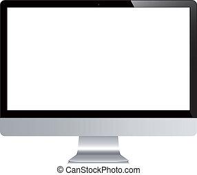 電腦, 被隔离, 矢量, 背景, 白色, 顯示