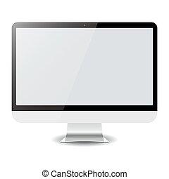 電腦, 被隔离, 矢量, white., eps10, 顯示