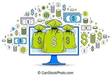 電腦, 錢, design., 概念, 或者, 袋子, 美元, 儲金, 圖象, 集合, 錢, 網際網路, 在網上, 電子, 監控, 銀行業務, bookkeeping, 矢量, 在上方