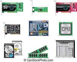 電腦, set., p.4, 矢量, 白色, 圖象