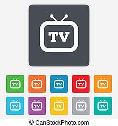 電視机, 電視, 符號。, 簽署, retro, icon.