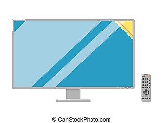 電視, 現代, 被隔离, lcd, 背景, 白色