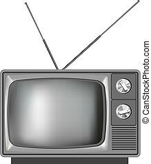 電視, 現實, 電視, 老, 插圖