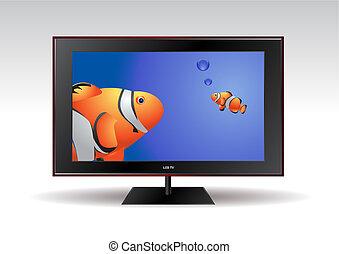 電視, 魚, lcd, 屏幕, 套間