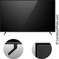 電視, 黑色, 現代, mockup