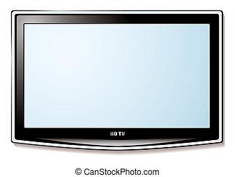 電視, lcd, 白色的屏幕