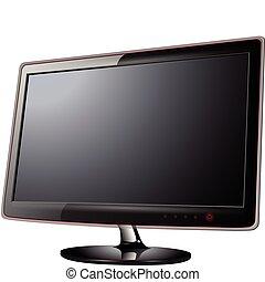 電視, lcd, 監控