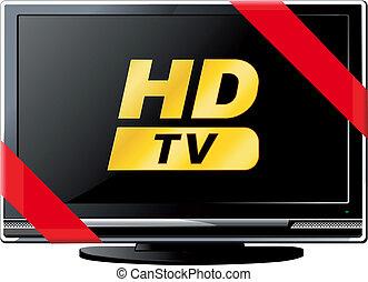 電視, lsd, 帶子, 紅色