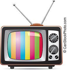 電視, retro, 插圖, 集合, 矢量